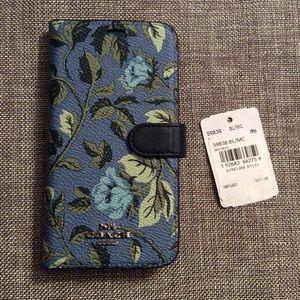 Coach Rose iPhone X XS 10 Folio Phone Case Wallet